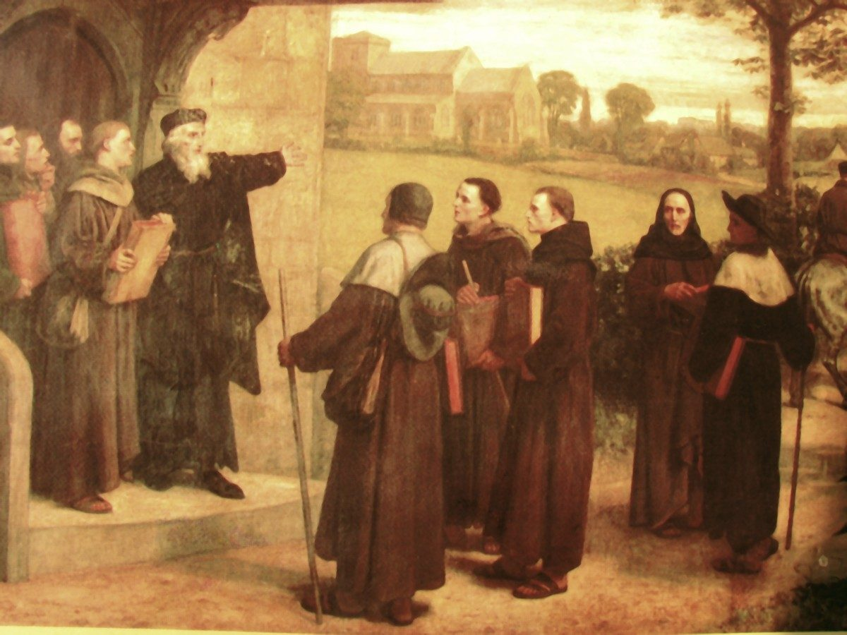 A painting showing John Wycliffe giving 'the poor priests' his translation of the Bible
