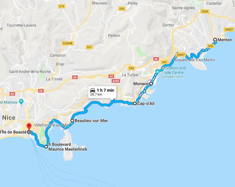 Les Trois Corniches, The French Riviera