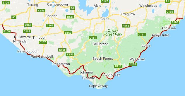 Great Ocean Road Walk map