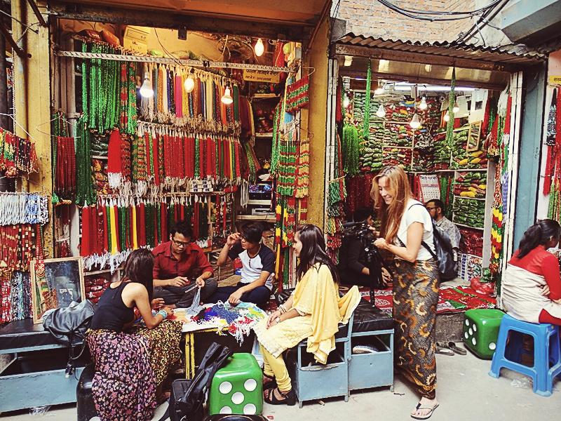 A beads shop in Indra Chowk, Kathmandu